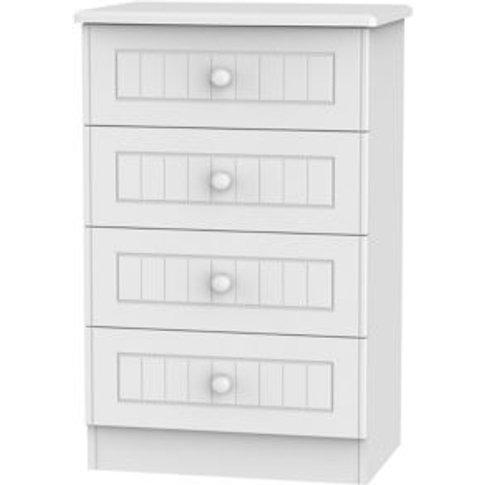 Welcome Furniture Warwick White Matt 4 Drawer Chest ...