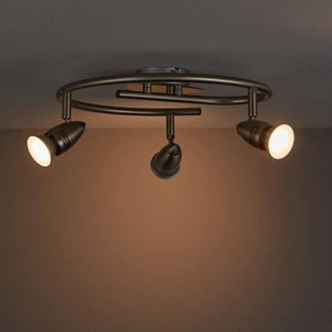 Aspis Satin Chrome Effect Mains-Powered 3 Lamp Spotl...