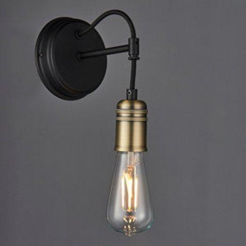 Hixley Matt Black Antique Brass Effect Wall Light