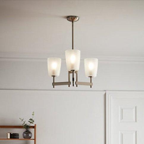 Quadryx Brushed Chrome Effect 3 Lamp Pendant Ceiling...