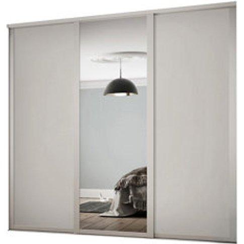 Contemporary Shaker Mirrored Dove Grey 3 Door Sliding Wardrobe Door Kit (H)2260mm (W)2136mm