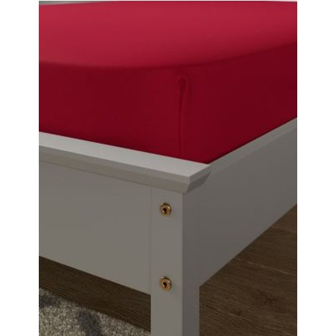 M&S Brushed Cotton Fitted Sheet - Sgl - Red, Red,Dar...