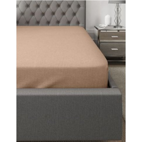 M&S Brushed Cotton Deep Fitted Sheet - Sgl - Neutral...