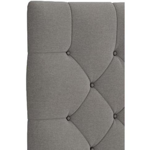 M&S Deep Button Headboard - 5ft - Light Grey Mix, Li...