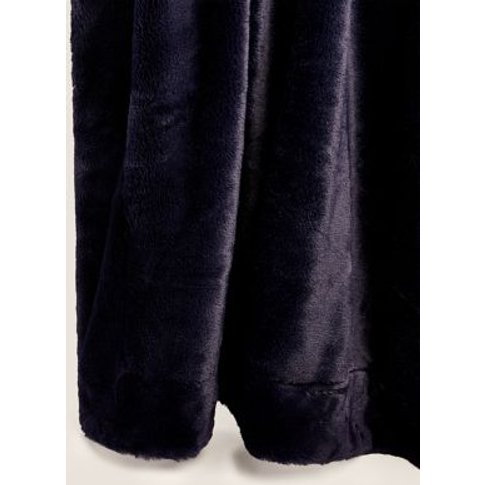 M&S Supersoft Faux Fur Throw - Small - Navy, Navy,Mocha