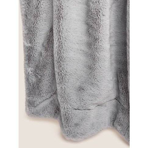 M&S Supersoft Faux Fur Throw - Large - Silver Grey, ...