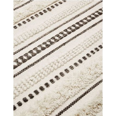 M&S Pure Wool Striped Rug - Med - Natural Mix, Natur...