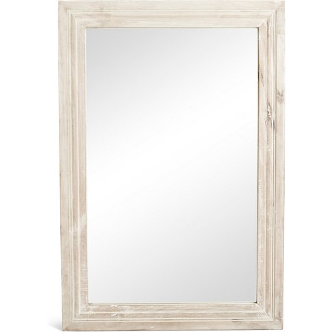 White Wash Rectangular Wooden Mirror