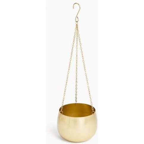 M&S Metal Hanging Planter - 1size - Gold, Gold