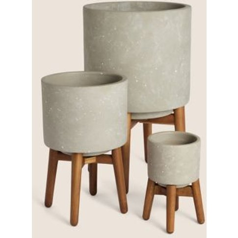 M&S Stoneware Planters With Stand - Grey, Grey