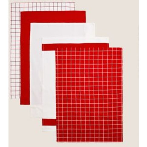 M&S Set Of 5 Printed Tea Towels - 1size - Red, Red,Grey