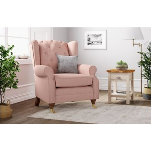 M&S Highland Button Armchair - Chr - Blush Pink, Blush Pink,Teal,Grey,Light Grey,Terracotta,Natural,Sage,Navy,Ochre