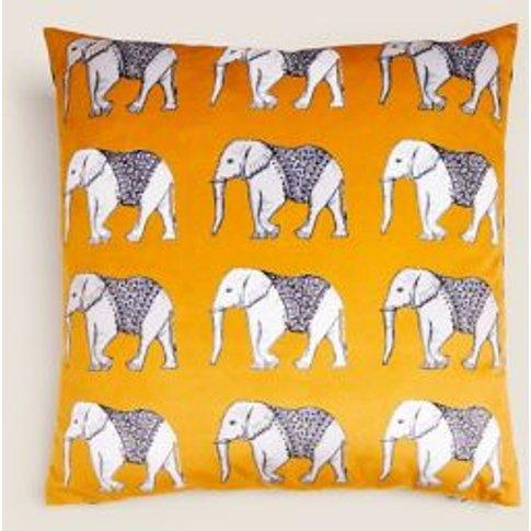 M&S Velvet Elephant Cushion - 1size - Ochre, Ochre,Navy