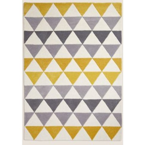 M&S Pure Wool Triangle Patterned Rug - 1size - Ochre...