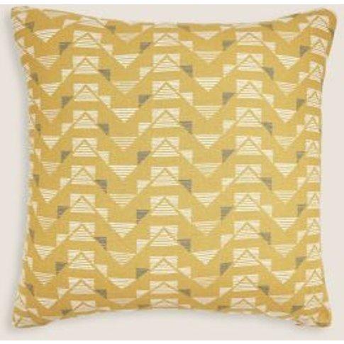 M&S Pure Cotton Geometric Medium Cushion - 1size - O...