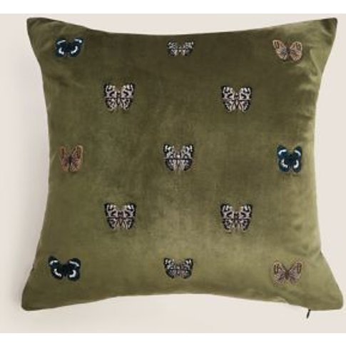 M&S Embroidered Velvet Butterfly Medium Cushion - 1size - Green, Green