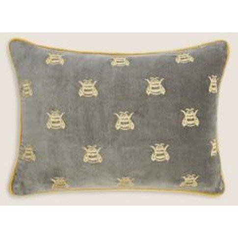 M&S Pure Cotton Velvet Bee Bolster Cushion - 1size -...