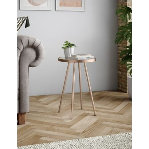 M&S Metal & Glass Round Side Table - 1size - Copper,...
