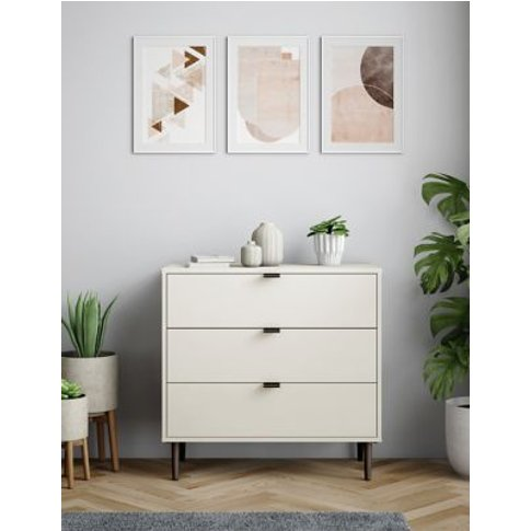 M&S Quinn 3 Drawer Chest - 1size - White, White,Grey