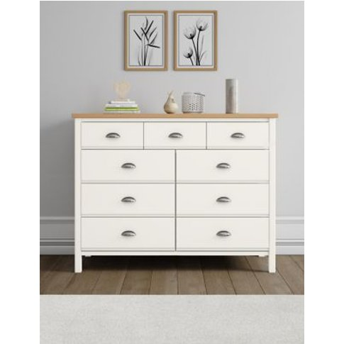 M&S Padstow Ivory 9 Drawer Chest - 1size, Ivory