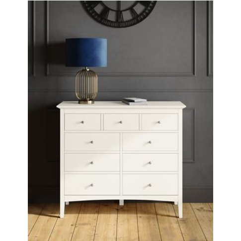 M&S Hastings 9 Drawer Chest - 1size - White, White,Grey