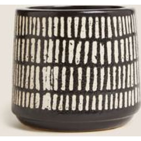 M&S Ceramic Striped Small Planter - 1size - Black Mi...