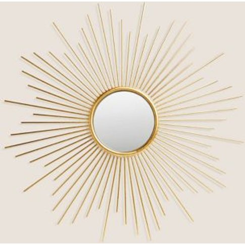 M&S Sunburst Metal Round Mirror - 1size - Antique Br...
