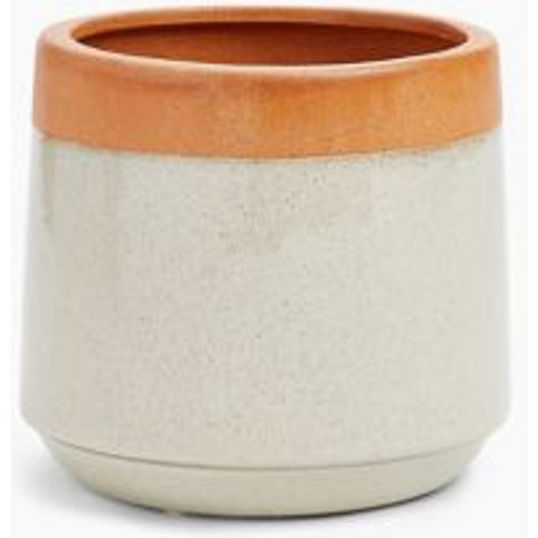 M&S Terracotta Glazed Medium Planter - 1size, Terrac...