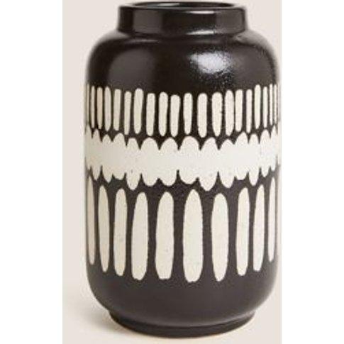M&S Tall Geometric Vase - 1size - Black, Black