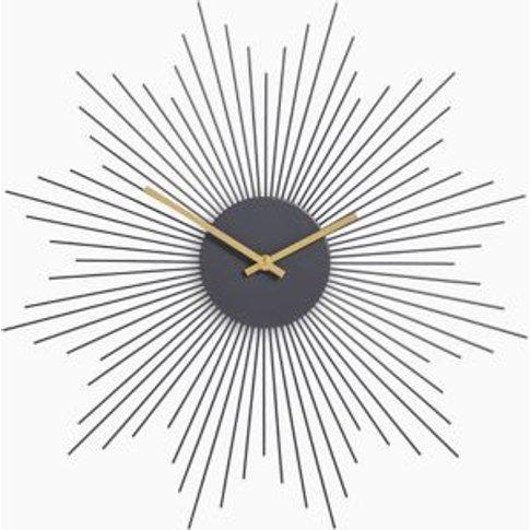 M&S Sputnik Metal Wall Clock - 1size - Charcoal, Cha...