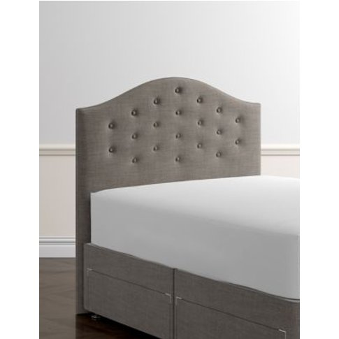 M&S Classic Buttoned Headboard - 4ft - Grey, Grey