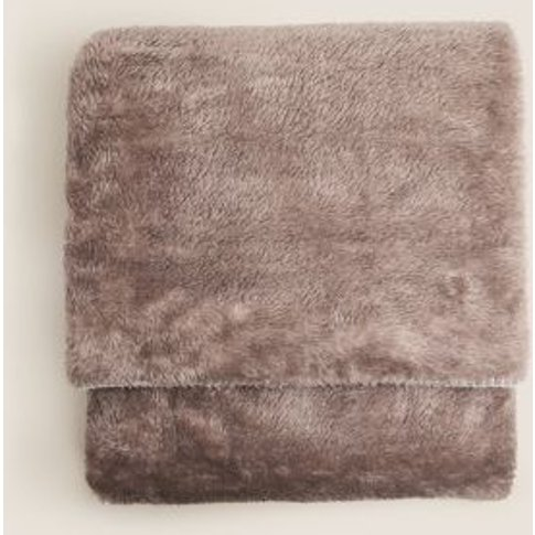 M&S Luxury Fleece Throw - 1size - Natural, Natural