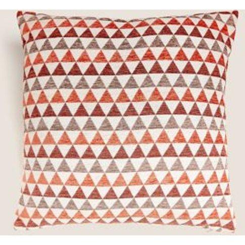 M&S Chenille Geometric Medium Cushion - 1size - Duck Egg, Duck Egg,Natural Mix,Black Mix,Ochre,Red Mix,Pink Mix