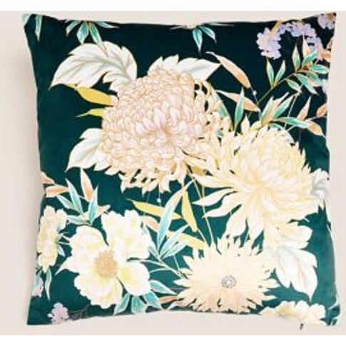 M&S Velvet Decorative Floral Cushion - 1size - Teal ...