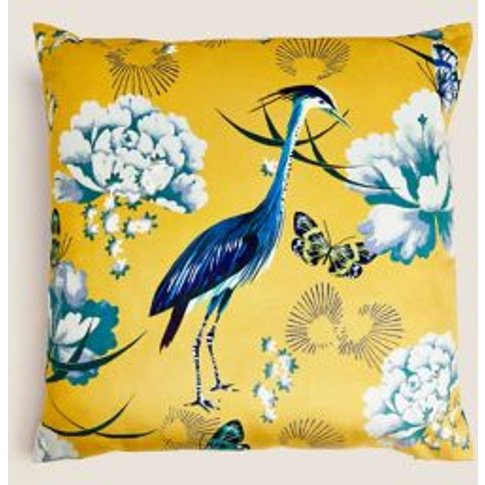 M&S Velvet Crane Cushion - 1size - Ochre, Ochre