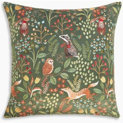 M&S Woodland Print Embroidered Cushion - 1size - Nav...