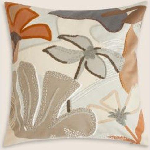 M&S Eli Pure Cotton Embroidered Cushion - 1size - Ne...