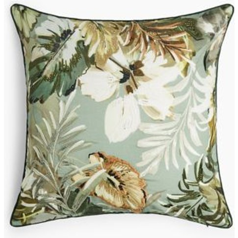 M&S Maisie Floral Embroidered Cushion - 1size - Green Mix, Green Mix