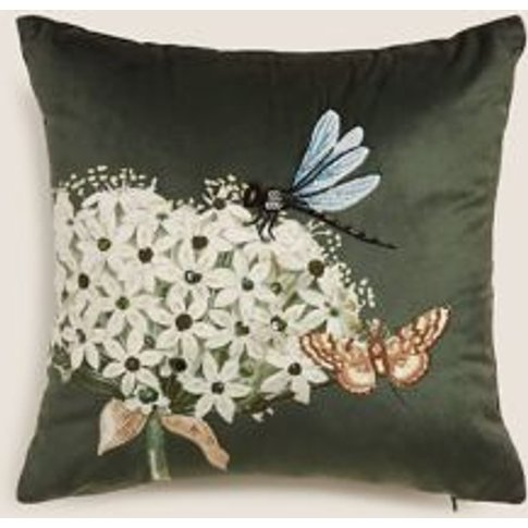 M&S Botanical Small Embroidered Cushion - 1size - Gr...