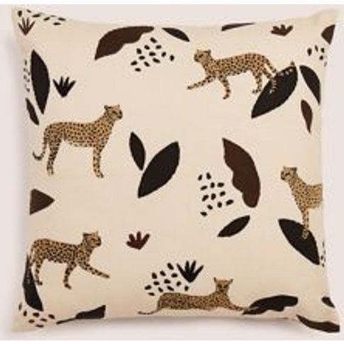 M&S Pure Cotton Cheetah Embroidered Cushion - 1size ...