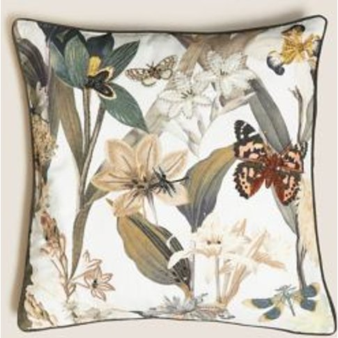 M&S Floral Embroidered & Embellished Cushion - 1size...