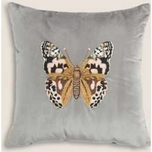 M&S Velvet Butterfly Embroidered Cushion - 1size - S...