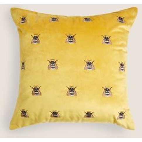 M&S Velvet Bee Embroidered Cushion - 1size - Ochre, ...