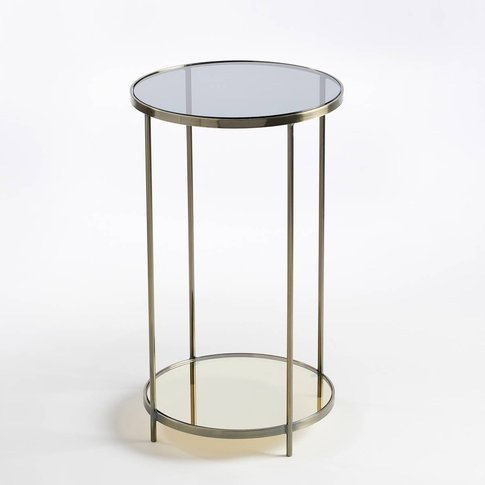 Ulupna Round Bedside Table / Side Table With Aged Br...