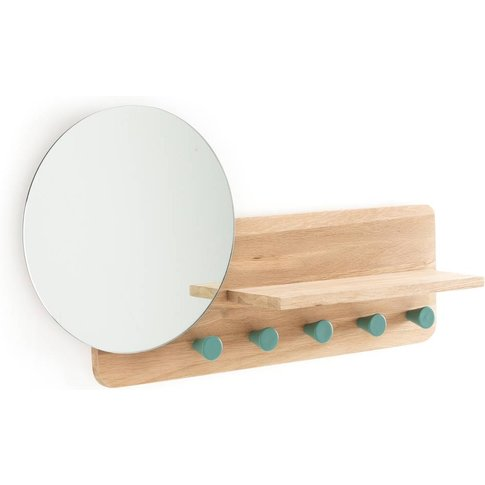 Nyjo Oak Wall-Mounted Coat Rack With Mirror