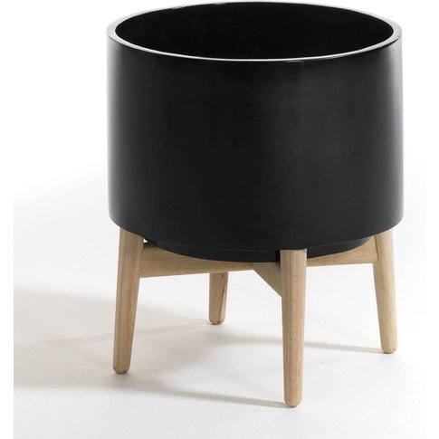 Florian Terracotta Plant Pot On Wooden Stand
