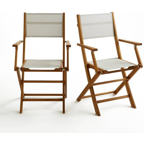Folding solid wood garden chairs (set of 2)