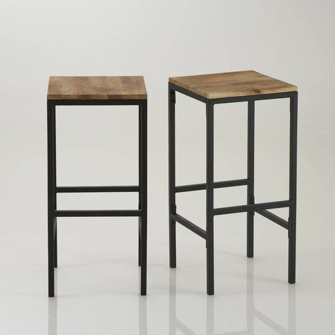 HIBA Wood & Metal Tall Square Bar Stools (Set of 2)