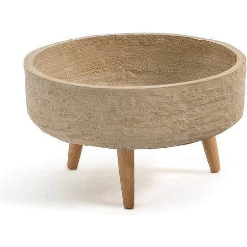 VELIKA Wood & Concrete Round Planter