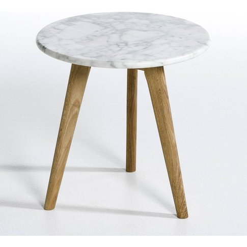 PRISCILLE Marble & Oak Circular Side Table